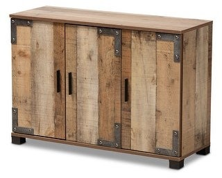 Baxton Studio Cyrille Modern and Contemporary Farmhouse Rustic 3-Door Shoe Cabinet