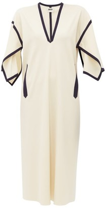 Maison Rabih Kayrouz Grosgrain Trim Wool Blend Dress - Womens - Ivory Multi