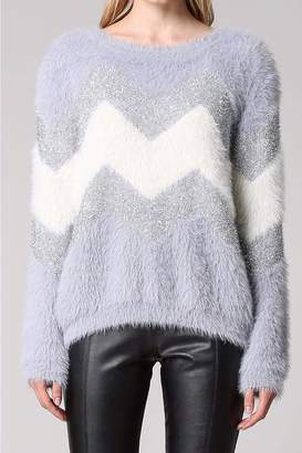 Fate CHEVRON METALIC FUZZY SWEATER