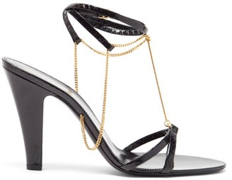 Saint Laurent Sue Chain-embellished Leather Sandals - Black