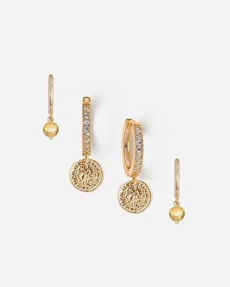 Express Tess + Tricia Gold Huggie Coin & Earring Set