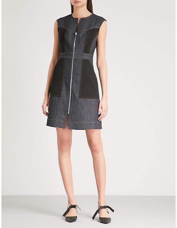 Diane von Furstenberg Zip-up stretch-denim mini dress
