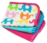 I Play Brights 3-Pack Organic Cotton Terry Washcloths in Elephant/Fuchsia and Blue