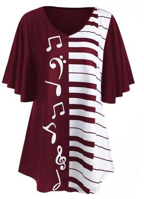 Stekima T Shirt Women Women Fashion T-Shirt Summer Casual Ruffle Short Sleeve V Neck Musical Notes Print Irregular Loose Tunic Tops Blouse Tee Shirt for Ladies Girls Plus Size Pullover Sweatshirt Jumper Sale Wine