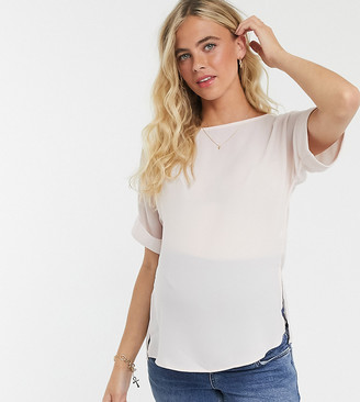 ASOS DESIGN Maternity oversized woven tee with roll sleeve in blush