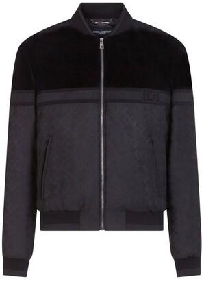 Dolce & Gabbana Velvet-Panel Monogram Jacquard Bomber Jacket