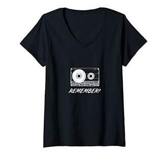 Womens Remember audio cassette tapes V-Neck T-Shirt