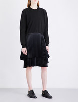 Clu Pleated-panel cotton-jersey and satin dress