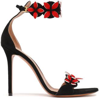 Alaia Floral-appliqued Suede Sandals