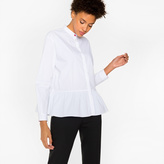 Paul Smith Women's White Cotton Peplum Shirt With Band Collar