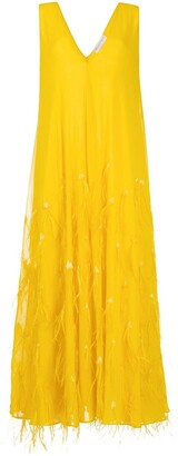 Emilio Pucci feather-detail V-neck gown