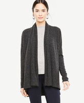 Ann Taylor Cashmere Flecked Ribbed Open Cardigan