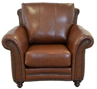 """Westland and Birch Clinton 46"""" W Top Grain Leather Club Chair Fabric: Brompton Brown Genuine Leather"""