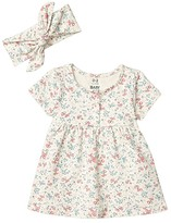 Cotton On Bundle Milly Short Sleeve Dress Tie Headband (Infant/Toddler) (Dark Vanilla Maude Floral) Girl's Active Sets
