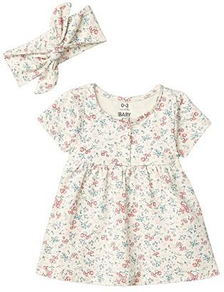 Cotton On Bundle Milly Short Sleeve Dress Tie Headband (Infant/Toddler) (Dark Vanilla Maude Floral) Girl's Active Sets