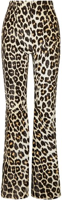 16Arlington Newman Leopard-print Calf Hair Flared Pants