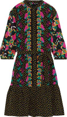 Saloni Tyra Printed Silk Crepe De Chine Mini Dress
