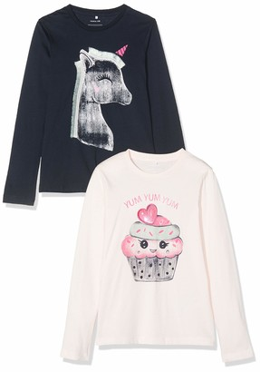 Name It Girl's Nmfnalima 2p Ls Top Box Long Sleeve