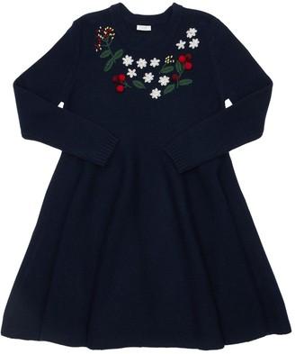 Il Gufo Embroidered Wool Knit Dress