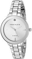 Anne Klein Women's AK/2305SVSV Diamond-Accented Dial Silver-Tone Bracelet Watch