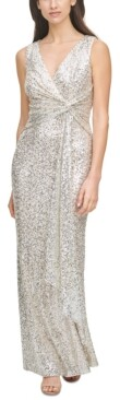 Thumbnail for your product : Vince Camuto Sequinned Front-Knot Gown
