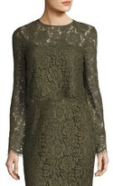 Diane von Furstenberg Yeva Long-Sleeve Lace Top, Olive