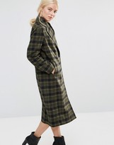 Helene Berman Double Breasted Coat in Khaki Green and Black Check