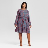 Ava & Viv Women's Plus Size Ruffle Easy Waist Mini Floral Dress Deep Teal
