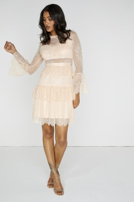 Little Mistress Ethereal Tiered Lace Dress
