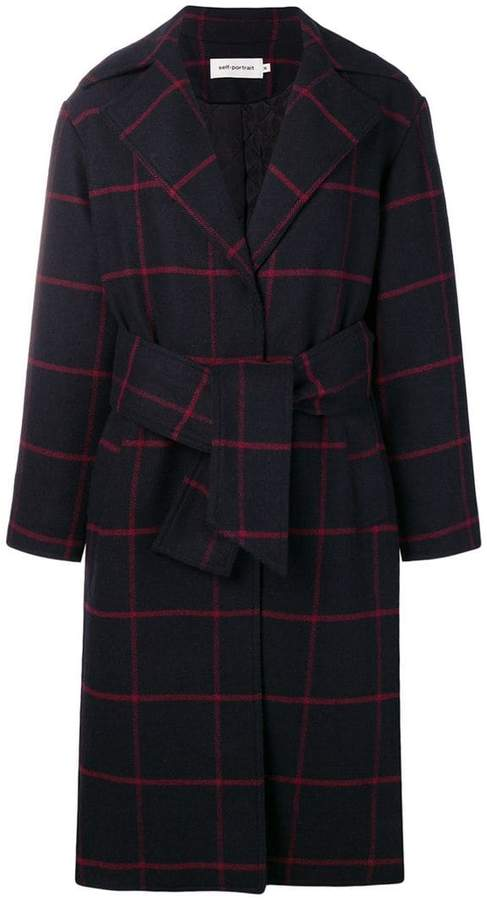 Self-Portrait check belted coat