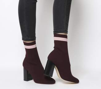 Office Alexis Sock Boots Burgundy With Pink Stripe