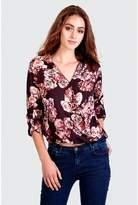 Select Fashion Fashion Womens Purple Floral Sateen Wrap Blouse - size 6