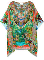 Camilla Benny's Blessing Embellished Printed Washed-silk Kaftan - Bright green