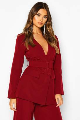 boohoo Collarless Double Breasted Belted Jacket