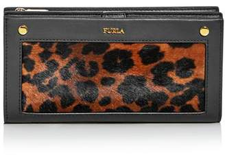 Furla Lady M Leopard Print Calf Hair Continental Wallet