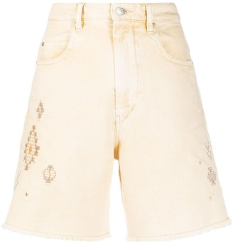 Etoile Isabel Marant Embroidered Denim Shorts