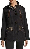 MICHAEL Michael Kors Water-Resistant Cinched-Waist Anorak Jacket, Black