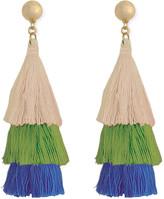 ZAD Women's Earrings cream/green/blue - Green & Goldtone Triple-Tier Tassel Drop Earrings