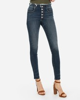 Express High Waisted Denim Perfect Button Fly Ankle Leggings
