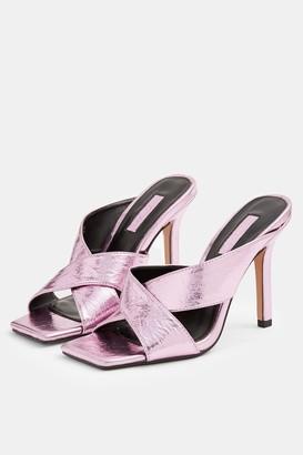 Topshop SHAY Metallic Pink Cross Over Mules