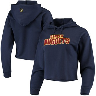 Women's Navy Denver Nuggets Velour Cropped Pullover Hoodie