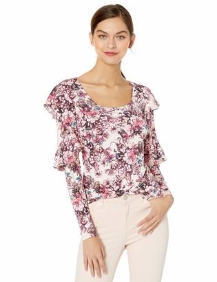 GUESS Women's Long Sleeve Bianka Ruffle Top