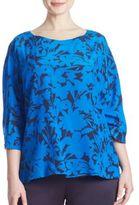 Marina Rinaldi, Plus Size Bantu Floral Silk Top