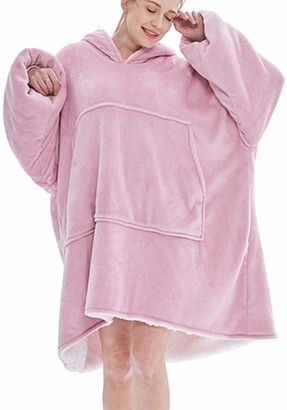 MINIDORA Women Pajamas Big Pocket Hoodie Multiple Colors Sleepwear Blanket Ultra Soft Sherpa Fleece Warm Cosy Comfy Nightwear Oversized Wearable (One Size