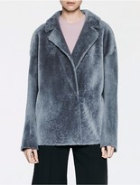 Calvin Klein Platinum Shearling Easy Coat