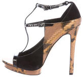 Brian Atwood Embossed T-Strap Sandals