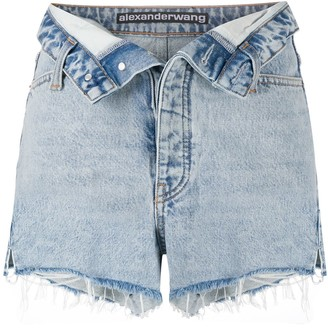 T By Alexander Wang Turn Down Waist Denim Shorts