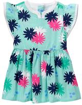 Gymboree Green & Deep Pink Floral Angel-Sleeve Dress - Infant & Toddler