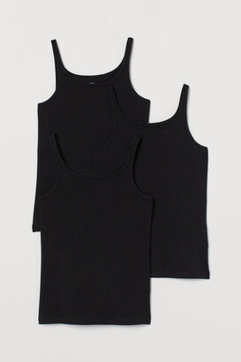 H&M 3-pack Jersey Tank Tops - Black