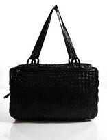 Bottega Veneta Black Intrecciato Leather Double Handle Satchel Handbag